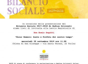 Presentazione Bilancio Sociale 2017-2018 e lectio magistralis